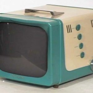 General-Electric-Model-14S208-Two-Tone-Portable-Antique-Vintage-Television-Set-TV