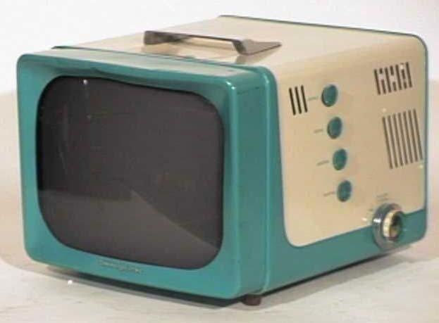General-Electric-Model-14S208-Two-Tone-Portable-Antique-Vintage-Television-Set-TV
