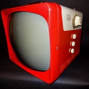Trav-Ler Two Tone 1950s Portable TV In red and White