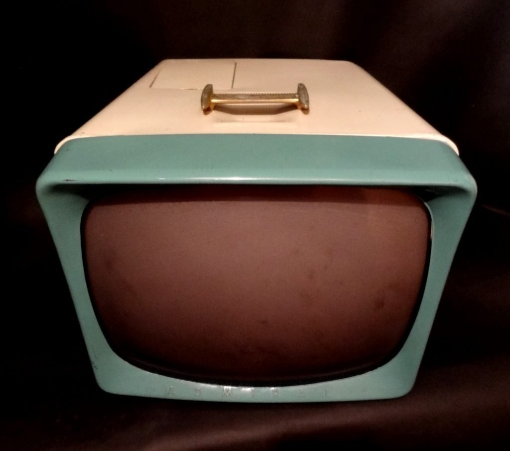 Admiral Two Tone Turquoise Ivory Fifties Portable Vintage Television