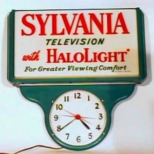Sylvania HaloLight Television Advertising Sign With Clock